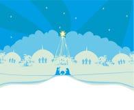 Христианская сцена рождества рождества младенца Иисуса в кормушке Стоковое Изображение