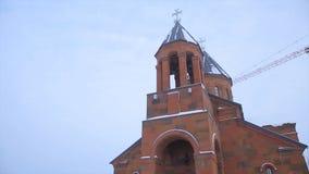 Христианская церковь в зиме Известная церковь St Gregory Tigran Honents окружена с ландшафтом зимы венчание обряда церков церемон Стоковое Фото