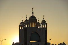 Христианская церковь на заходе солнца Стоковые Фото