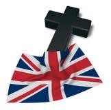 Христианские крест и флаг Великобритании Стоковое фото RF