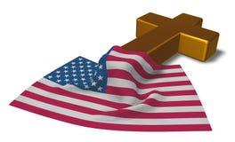 Христианские крест и флаг США Стоковое Изображение RF