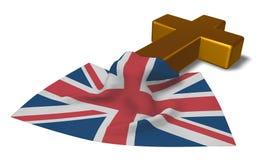 Христианские крест и флаг United Kingdom of Great Britain and Northern Ireland Стоковое фото RF