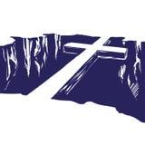 Христианский деревянный крест лежа над бездной, соединяя нас с богом Пасха символ вектора христианства нарисованного рукой Стоковая Фотография