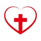 Христианский крест внутрь в сердце также вектор иллюстрации притяжки corel Стоковые Изображения RF