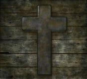 Христианский крест на древесине Стоковые Фотографии RF