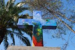 Христианский крест на холме San Cristobal в Чили Стоковые Изображения RF