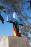 Христианский крест на холме San Cristobal в Чили Стоковые Фотографии RF