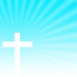 Христианский крест с предпосылкой лучей Стоковое Изображение