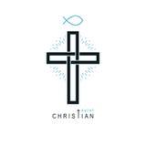 Христианский перекрестный символ вектора, значок вероисповедания бога христианства иллюстрация вектора