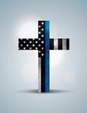 Христианский перекрестный символ поддержки правоохранительных органов Стоковые Изображения