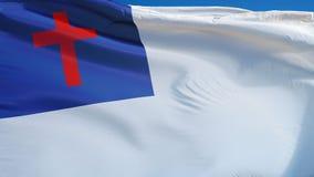 Христианский флаг в замедленном движении плавно закрепил петлей с альфой акции видеоматериалы