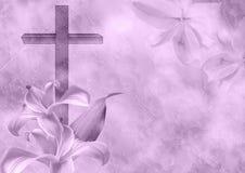 Христианский цветок креста и лилии Стоковое Фото