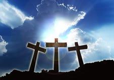 3 христианских креста Стоковая Фотография