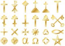 Христианское религиозное золото символов Стоковая Фотография RF