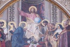 Христос enthroned с Mary и Иоанном Крестителем Стоковое Фото