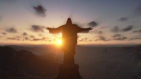 Христос Redemeer на заходе солнца, Рио-де-Жанейро, конце вверх, наклон, отснятый видеоматериал запаса