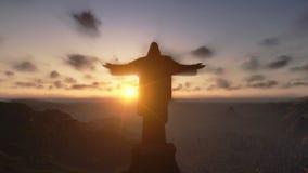 Христос Redemeer на заходе солнца, Рио-де-Жанейро, конце вверх, отснятый видеоматериал запаса