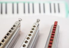 Хроматичные губные гармоники и melodion Стоковое Изображение RF
