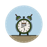 Хронометрируйте на голубой предпосылке в круге Стоковые Изображения