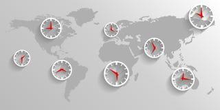 Хронометрируйте на карте мира, предпосылки концепции дела Стоковое Изображение