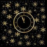 Хронометрируйте на черной предпосылке рождества с снежинками Стоковое фото RF