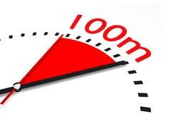 Хронометрируйте с красной зоной руки секунд 100 метров участвуют в гонке Стоковое Изображение RF