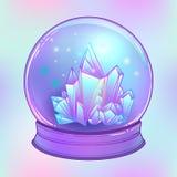 Хрустальный шар с с самоцветами кристаллов внутрь Страшный милый вектор иллюстрация штока