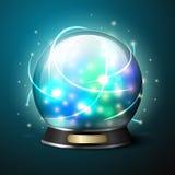 Хрустальный шар вектора яркий накаляя для удачи иллюстрация штока