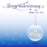 Хрустальный шар рождества с падубом Стоковые Фото
