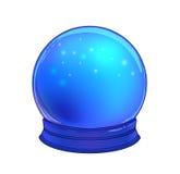 Хрустальный шар с с луной радуги и красочными звездами иллюстрация штока