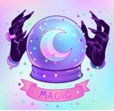 Хрустальный шар с фиолетовыми женскими руками чужеземца над сеткой b градиента бесплатная иллюстрация