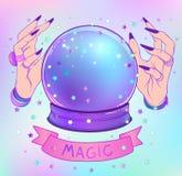 Хрустальный шар с фиолетовыми женскими руками чужеземца над сеткой b градиента иллюстрация штока