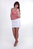 Худенькая девушка в тенниске Стоковое Изображение RF