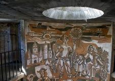 Художественное произведение внутри угла круглой башни юго-восточного, церковь-крепость St Michael стоковая фотография rf