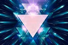 Художественное произведение треугольников художественного конспекта красочное ровное на пестротканой предпосылке лучей света иллюстрация штока