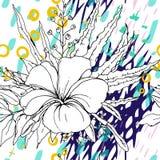 Художественное творческое тропическое черное белое современное иллюстрация штока
