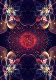 Художественный уникальный черный компьютер 3d произвел фрактали экзотической красивой картины цветков на цифровой современной кру иллюстрация штока