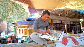 Художник в Bagan, Мьянме акции видеоматериалы