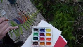 Художник красит зеленые папоротники в цветах радуги в природе сток-видео