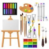 Художник оборудует акварель вектора с paintbrushes палитрой и красками цвета для художественного произведения в иллюстрации студи Стоковая Фотография RF