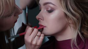 Художник состава красит губы к клиенту в салоне красоты видеоматериал