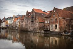 художническая акварель текстуры типа ghent каналов Бельгии стоковое фото rf