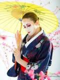 художническая женщина портрета японии гейши Стоковое Изображение
