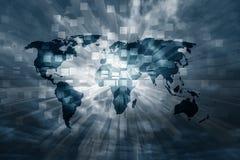 Художническая карта мира с предпосылкой двоичных чисел Стоковые Изображения