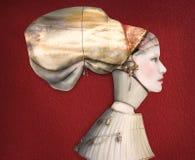 Художнический женский профиль портрета в костюме Стоковая Фотография