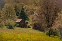 Художнический ландшафт домов и французской сельской местности Стоковые Изображения RF