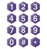 Художнический номер установленный на ультрафиолетов шестиугольные кнопки Бирка хэша и включенное symbole звезды Кнопки с влиянием Стоковые Фото