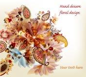 Художнической нарисованная рукой флористическая конструкция вектора Стоковые Изображения RF