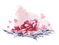 Художнической нарисованный рукой состав акварели с наглядными падениями и фонами краски Стоковые Фото