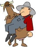 хуторянин нося коровы Стоковая Фотография